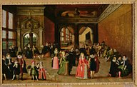 Bal à la cour d'Henri IV peinture sur bois par Louis de Caulery vers 1610