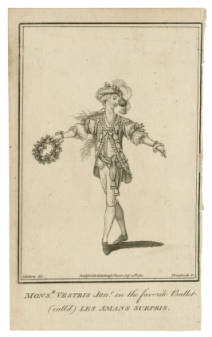 Picturing Shakespear. Mnsr. Vestris in  Les amans surpris / J. Roberts, del. ; Thornthwaite, sc. A favorite ballet of the time.