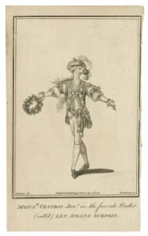 Picturing Shakespear. Mnsr. Vestris in  Les amans surpris / J. Roberts, del. ; Thornthwaite, sc. A favorite ballet of the time.