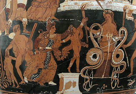 The sun god awaits to assist Medea in her escape