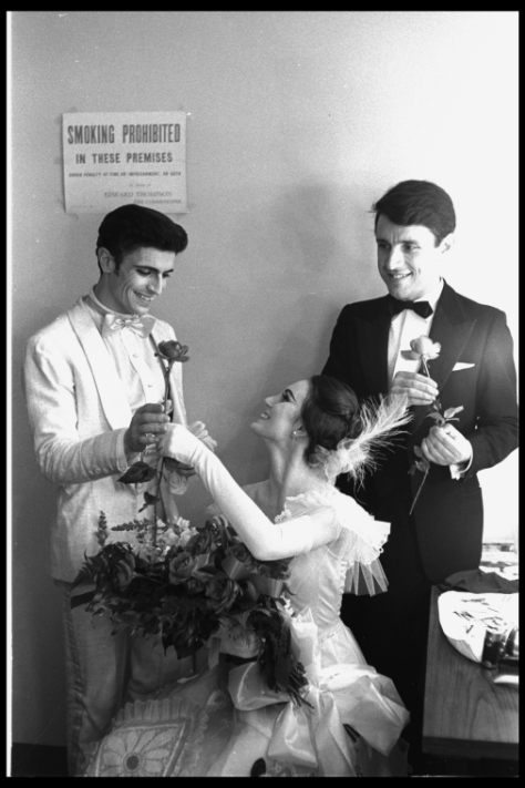 "Billy Rose Theatre Division, The New York Public Library. ""New York City Ballet production of ""Dim Lustre"" costumer Beni Montressor with Patricia McBride and Edward Villella in dressing room, choreography by Antony Tudor (New York)"" The New York Public Library Digital Collections. 1964. http://digitalcollections.nypl.org/items/a0756e90-2618-0132-beed-58d385a7b928"